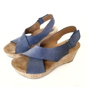 Clarks Artisan Cork Wedge Heels Sandals 8M